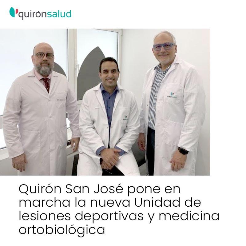 Unidad lesiones deportivas y ortobiologicas de quiron salud
